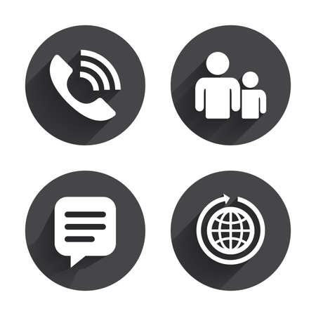 rang: Group of people and share icons. Speech bubble and round the world arrow symbols. Communication signs. Circles buttons with long flat shadow. Vector Illustration