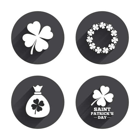 clover buttons: Saint Patrick day icons. Money bag with clover sign. Wreath of quatrefoil clovers. Symbol of good luck. Circles buttons with long flat shadow. Vector