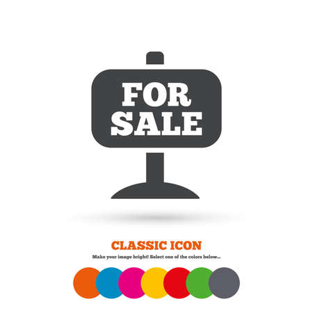 for sale sign: For sale sign icon. Real estate selling. Classic flat icon. Colored circles. Vector Illustration