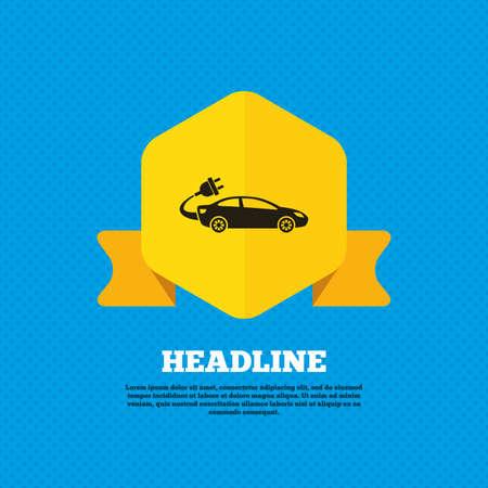 sedan: Electric car sign icon. Sedan saloon symbol. Electric vehicle transport. Yellow label tag. Circles seamless pattern on back. Vector Illustration