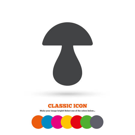 cep: Mushroom sign icon. Boletus mushroom symbol. Classic flat icon. Colored circles. Vector Illustration