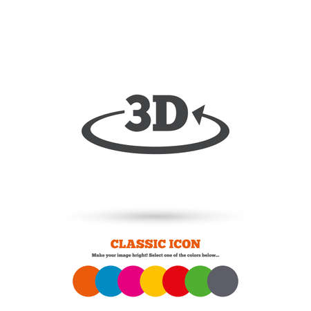 3D sign icon. 3D New technology symbol. Rotation arrow. Classic flat icon. Colored circles. Vector Illustration