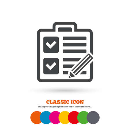 poll: Checklist with pencil sign icon. Control list symbol. Survey poll or questionnaire form. Classic flat icon. Colored circles. Vector
