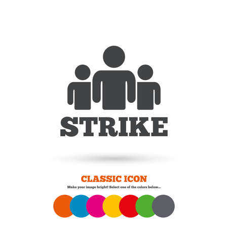 protest sign: Strike sign icon. Group of people symbol. Industrial action. People protest. Classic flat icon. Colored circles. Vector