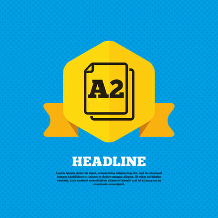 a2: Paper size A2 standard icon. File document symbol. Yellow label tag. Circles seamless pattern on back. Vector