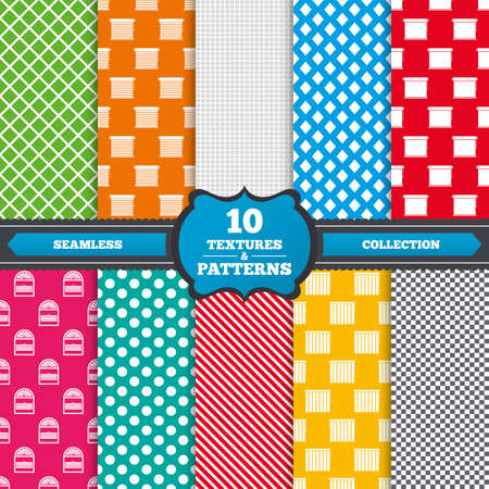 Seamless textures. Louvers icons. Plisse, rolls, vertical and horizontal. Window blinds or jalousie symbols. Endless patterns with circles, diagonal lines, chess cell. Vector