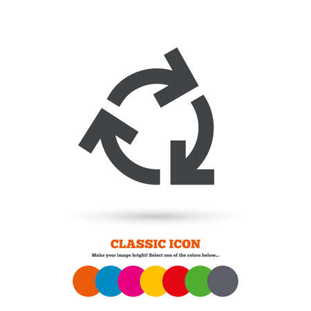 reduce: Recycling sign icon. Reuse or reduce symbol.. Classic flat icon. Colored circles. Vector Illustration