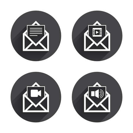 voice mail: Mail envelope icons. Message document symbols. Video and Audio voice message signs. Circles buttons with long flat shadow. Vector