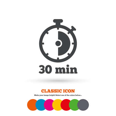 min: Timer sign icon. 30 minutes stopwatch symbol. Classic flat icon. Colored circles. Vector Illustration