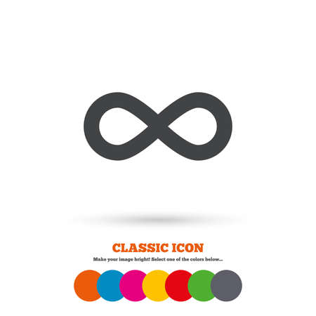 eternally: Limitless sign icon. Infinity symbol. Classic flat icon. Colored circles. Vector