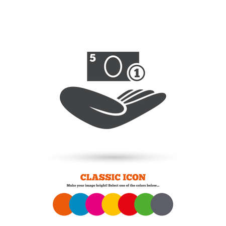 endowment: Donation hand sign icon. Hand holds cash. Charity or endowment symbol. Human helping hand palm. Classic flat icon. Colored circles. Vector