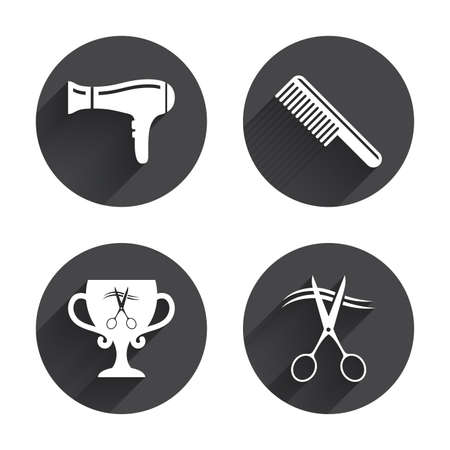 blow drying: Hairdresser icons. Scissors cut hair symbol. Comb hair with hairdryer symbol. Barbershop winner award cup. Circles buttons with long flat shadow. Vector