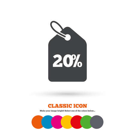 price label: 20% sale price tag sign icon. Discount symbol. Special offer label. Classic flat icon. Colored circles. Vector