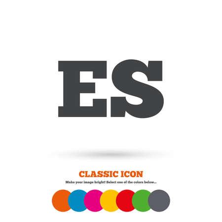 vector es: Spanish language sign icon. ES translation symbol. Classic flat icon. Colored circles. Vector