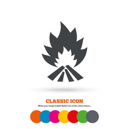 fire escape: Fire flame sign icon. Heat symbol. Stop fire. Escape from fire. Classic flat icon. Colored circles. Vector