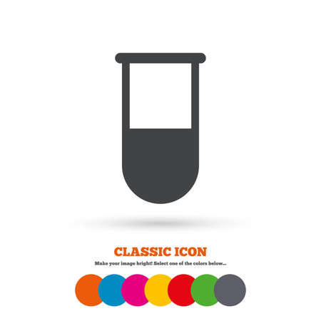 medical symbol: Medical test tube sign icon. Laboratory equipment symbol. Classic flat icon. Colored circles. Vector