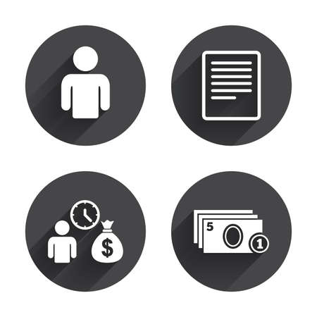 cash money: Bank loans icons. Cash money bag symbol. Apply for credit sign. Fill document and get cash money. Circles buttons with long flat shadow. Vector
