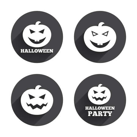 hallows: Halloween pumpkin icons. Halloween party sign symbol. All Hallows Day celebration. Circles buttons with long flat shadow. Vector
