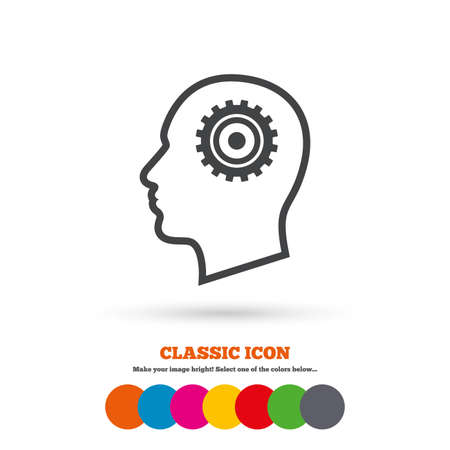 Head with gear sign icon. Male human head symbol. Classic flat icon. Colored circles. Vector