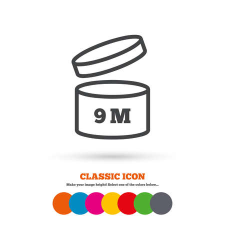 9 months: After opening use 9 months sign icon. Expiration date. Classic flat icon. Colored circles. Vector Illustration
