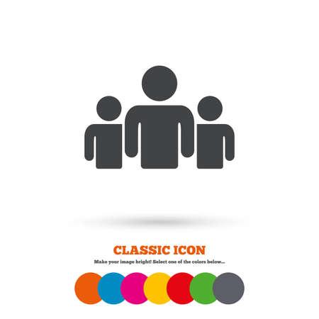 사람들의 그룹 아이콘을 서명합니다. 기호 공유. 클래식 평면 아이콘입니다. 컬러 서클입니다. 벡터