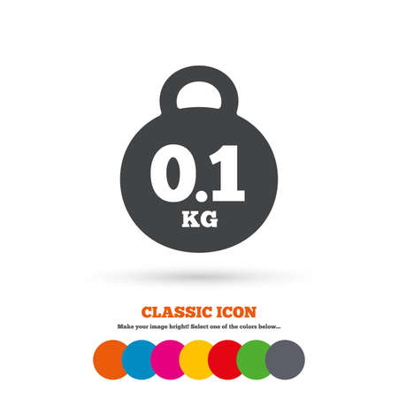 gram: Weight sign icon. 0.1 kilogram (kg). Envelope mail weight. Classic flat icon. Colored circles. Vector Illustration