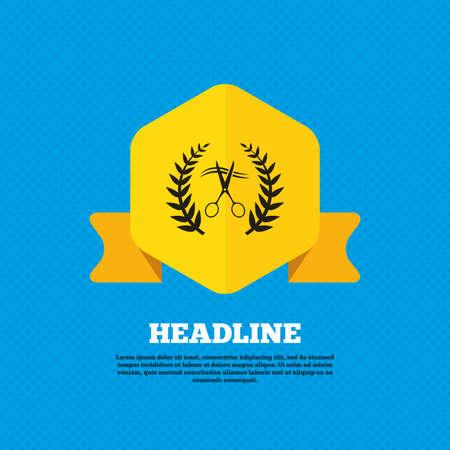 cut hair: Scissors cut hair sign icon. Hairdresser or barbershop laurel wreath symbol. Winner award. Yellow label tag. Circles seamless pattern on back. Vector