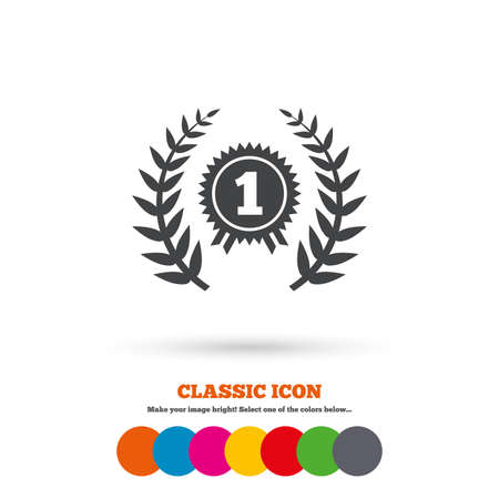 First place award sign icon. Prize for winner symbol. Laurel Wreath. Classic flat icon. Colored circles. Vector