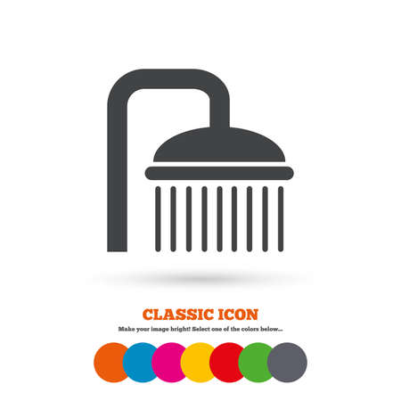 washstand: Shower sign icon. Douche with water drops symbol. Classic flat icon. Colored circles. Vector