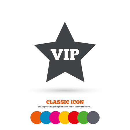 very important person: Vip sign icon. Membership symbol. Very important person. Classic flat icon. Colored circles. Vector