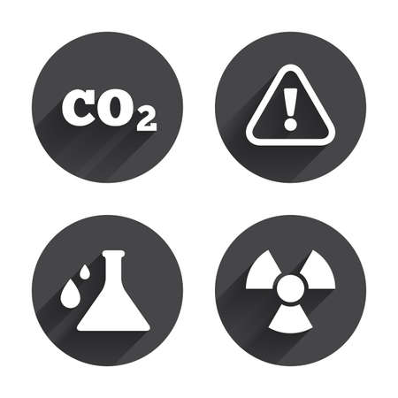 danger carbon dioxide  co2  labels: Attention and radiation icons. Chemistry flask sign. CO2 carbon dioxide symbol. Circles buttons with long flat shadow. Vector