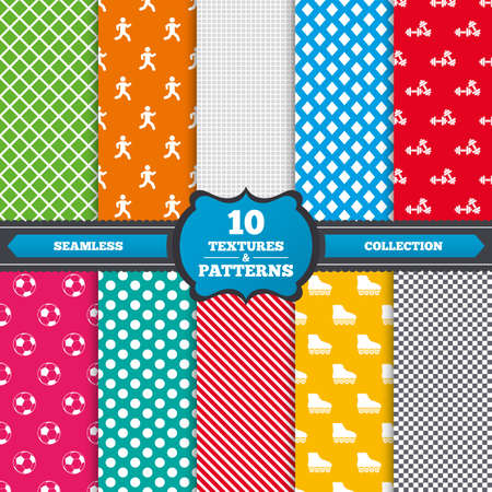 rollerblades: Seamless textures. Football ball, Roller skates, Running icons. Fitness sport symbols. Gym workout equipment. Endless patterns with circles, diagonal lines, chess cell. Vector