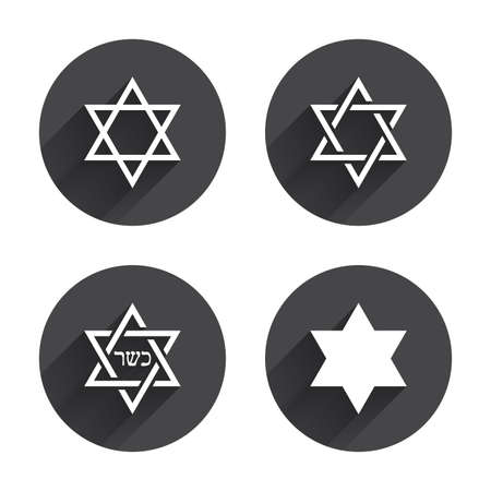 zion: Star of David sign icons. Symbol of Israel. Circles buttons with long flat shadow. Vector