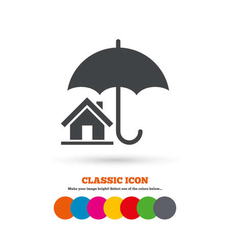 belay: Home insurance sign icon. Real estate insurance symbol. Classic flat icon. Colored circles. Vector Illustration