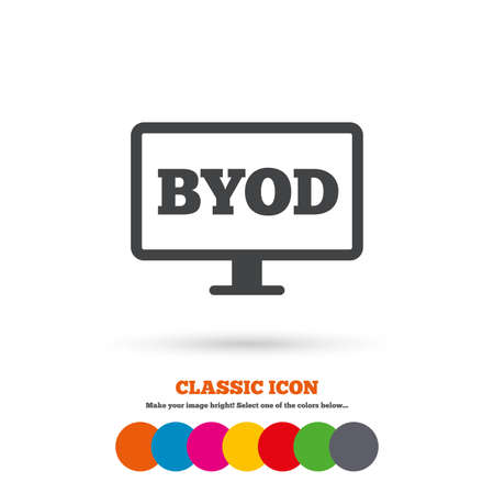 bring: BYOD sign icon. Bring your own device symbol. Monitor tv icon. Classic flat icon. Colored circles. Vector Illustration