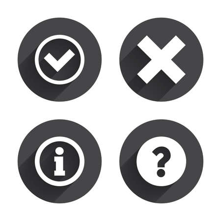 deny: Information icons. Delete and question FAQ mark signs. Approved check mark symbol. Circles buttons with long flat shadow. Vector