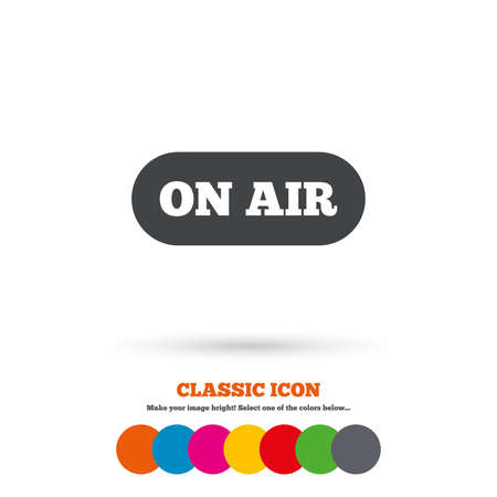 live stream sign: On air sign icon. Live stream symbol. Classic flat icon. Colored circles. Vector