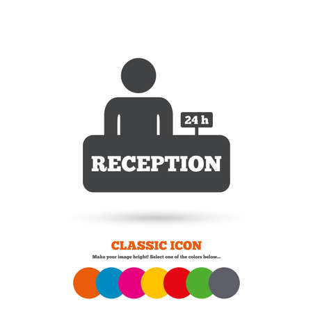 administrator: Reception sign icon. 24 hours Hotel registration table with administrator symbol. Classic flat icon. Colored circles. Vector