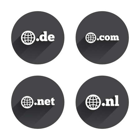 dns: Top-level internet domain icons. De, Com, Net and Nl symbols with globe. Unique national DNS names. Circles buttons with long flat shadow. Vector