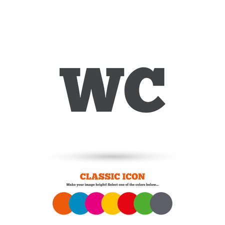 lavatory: WC Toilet sign icon. Restroom or lavatory symbol. Classic flat icon. Colored circles. Vector