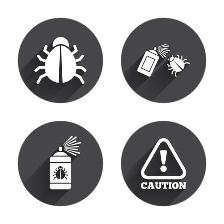 acarus: Bug disinfection icons. Caution attention symbol. Insect fumigation spray sign. Circles buttons with long flat shadow. Vector