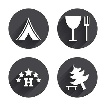 fork road: Alimentos, hotel, tienda de campa�a y el �rbol iconos. Copa y tenedor. Divida �rbol. Las se�ales de tr�fico. C�rculos botones con larga sombra plana. Vector