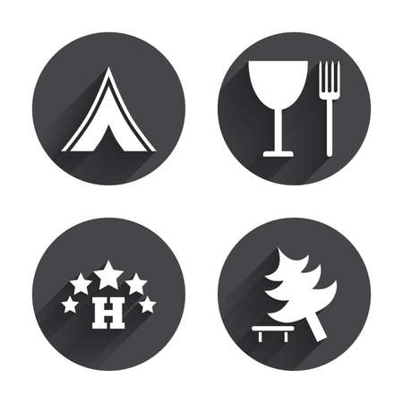 fork in road: Food, hotel, camping tent and tree icons. Wineglass and fork. Break down tree. Road signs. Circles buttons with long flat shadow. Vector