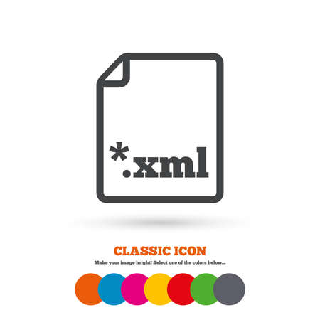 xml: File document icon. Download XML button. XML file extension symbol. Classic flat icon. Colored circles. Vector Illustration