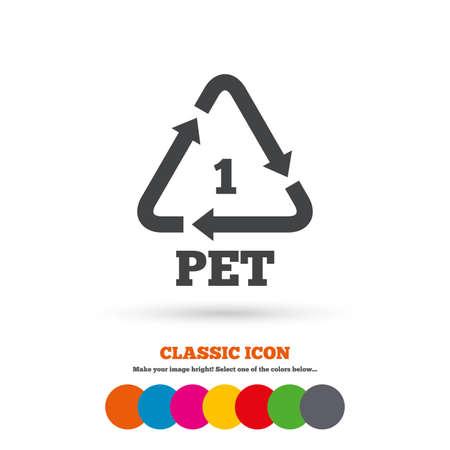 PET 1 icon. Polyethyleentereftalaat teken. Recycling symbool. Flessen verpakking. Classic flat icoon. Gekleurde cirkels. Vector