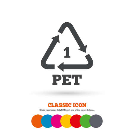 polyethylene: PET 1 icon. Polyethylene terephthalate sign. Recycling symbol. Bottles packaging. Classic flat icon. Colored circles. Vector Illustration
