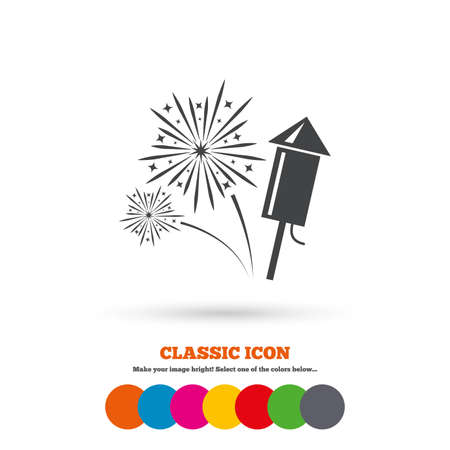 pyrotechnic: Fireworks with rocket sign icon. Explosive pyrotechnic symbol. Classic flat icon. Colored circles. Vector