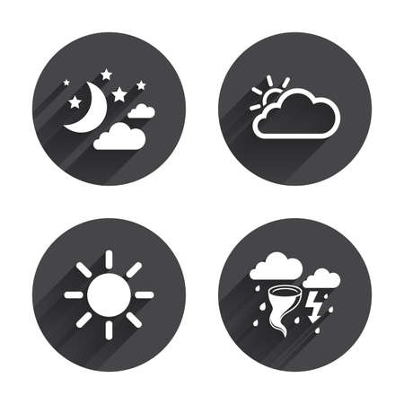 long night: Weather icons. Moon and stars night. Cloud and sun signs. Storm or thunderstorm with lightning symbol. Circles buttons with long flat shadow. Vector