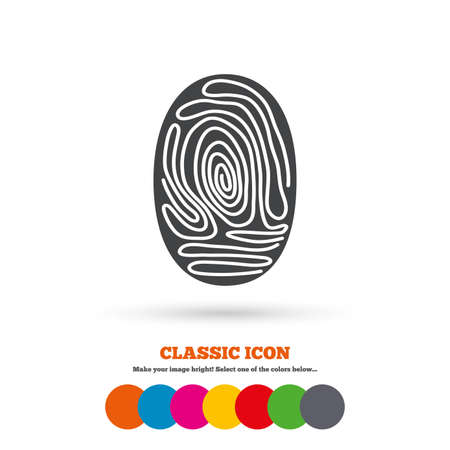 Fingerprint sign icon. Identification or authentication symbol. Classic flat icon. Colored circles. Vector