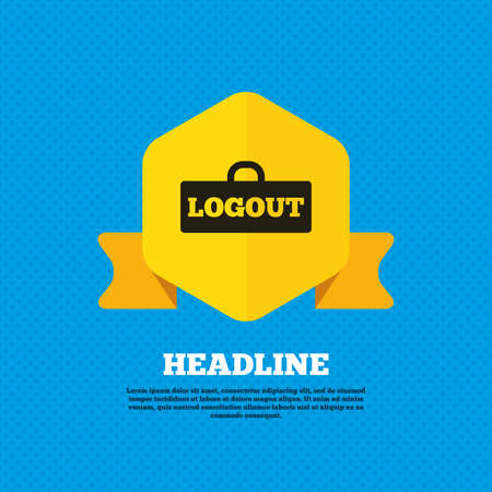 lock out: Logout sign icon. Sign out symbol. Lock icon. Yellow label tag. Circles seamless pattern on back. Vector
